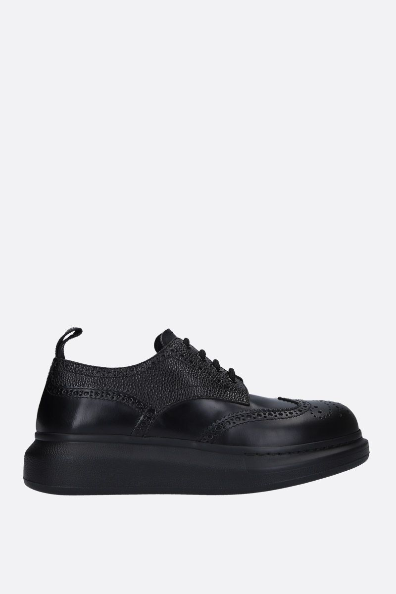 ALEXANDER McQUEEN: Hibryd leather derby shoes Color Black_1