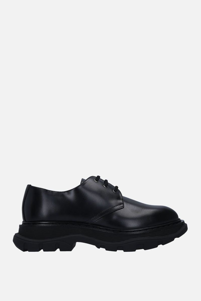 ALEXANDER McQUEEN: brushed calf derby shoes Color Black_1