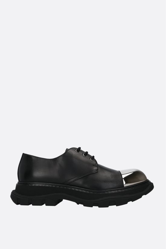ALEXANDER McQUEEN: Tread shiny leather derby shoes Color Black_1