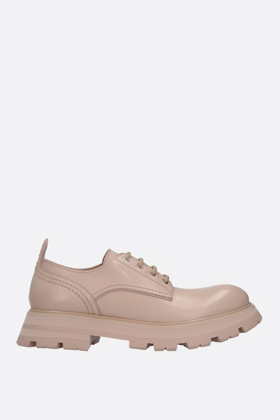 ALEXANDER McQUEEN: shiny leather derby shoes Color Pink_1