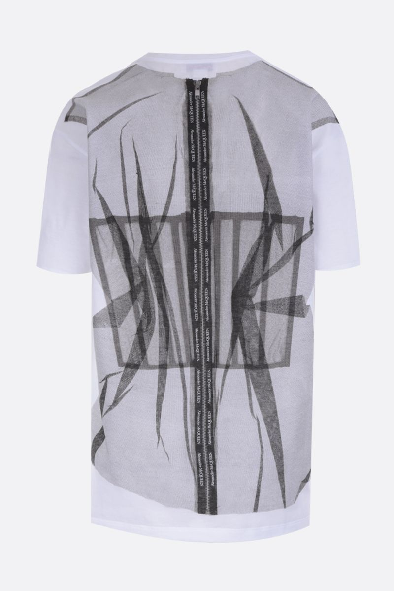 ALEXANDER McQUEEN: tulle bodice print jersey oversized t-shirt Color White_2