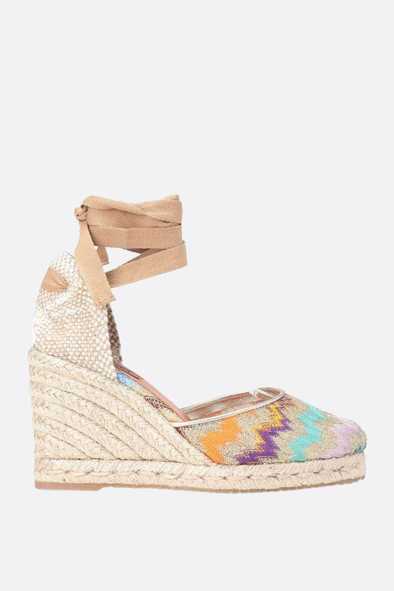 MISSONI: lurex knit and jute wedge espadrilles Color Multicolor_1