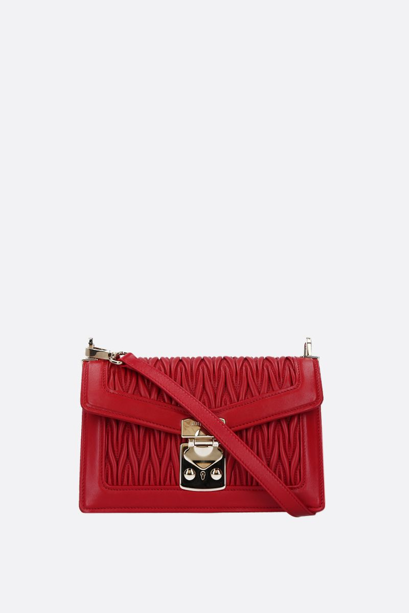 MIU MIU: Miu Confidential quilted nappa shoulder bag Color Red_2