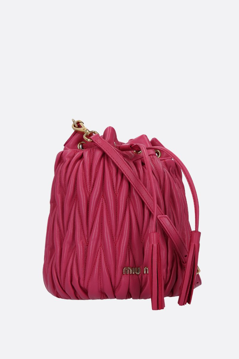 MIU MIU: quilted nappa leather bucket bag Color Red_2