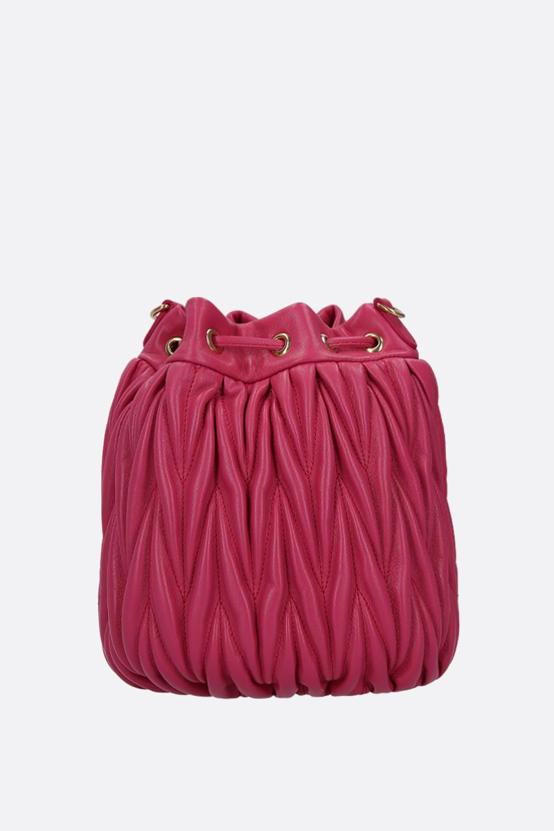 MIU MIU: quilted nappa leather bucket bag Color Red_3