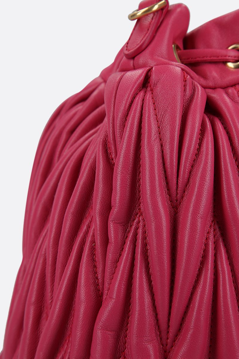 MIU MIU: quilted nappa leather bucket bag Color Red_4