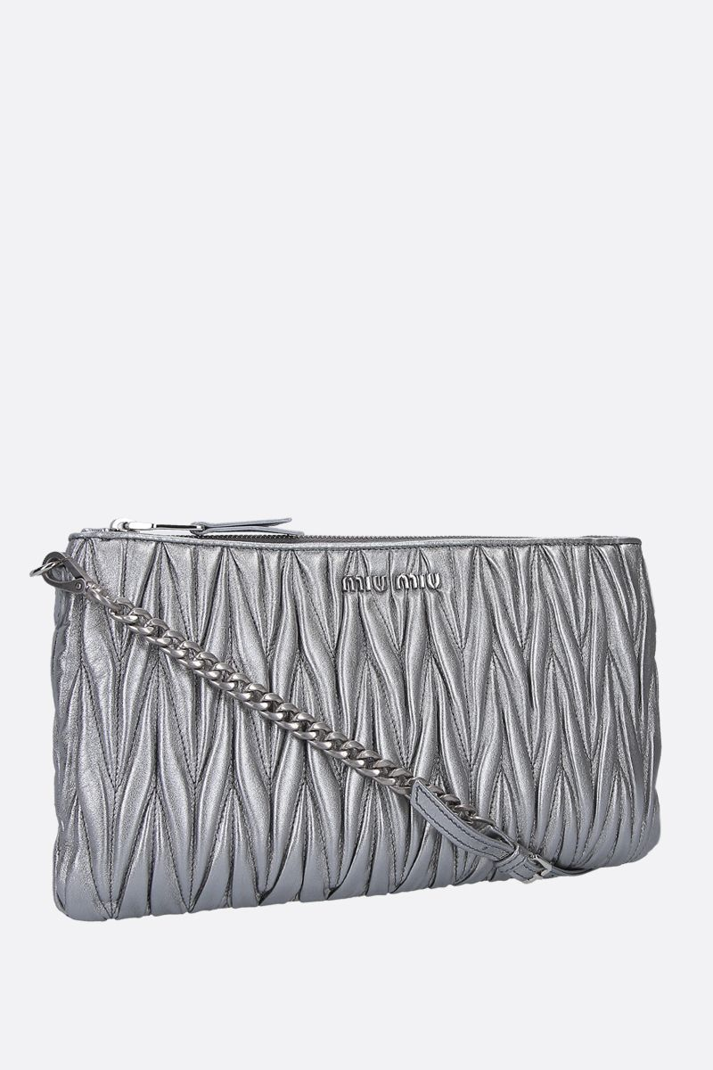 MIU MIU: quilted nappa clutch Color Grey_2
