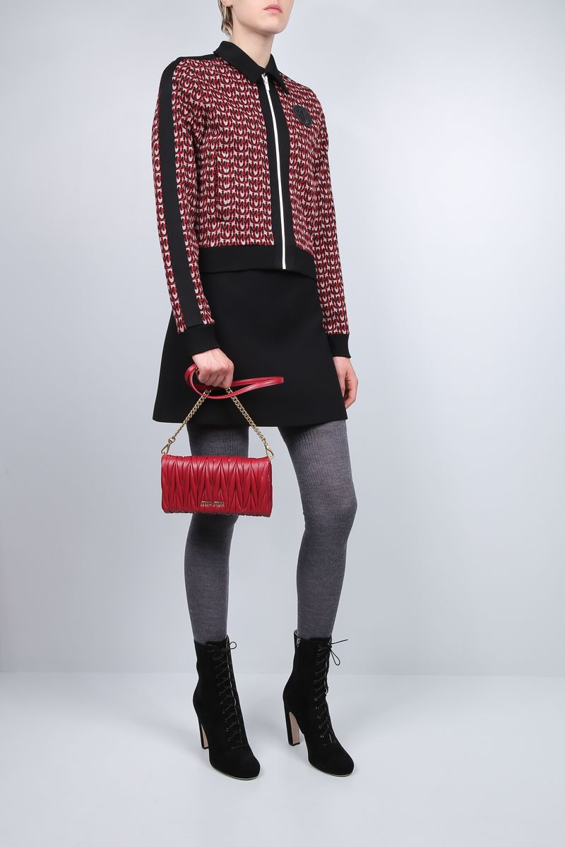 MIU MIU: mini crossbody bag in quilted nappa Color Red_2