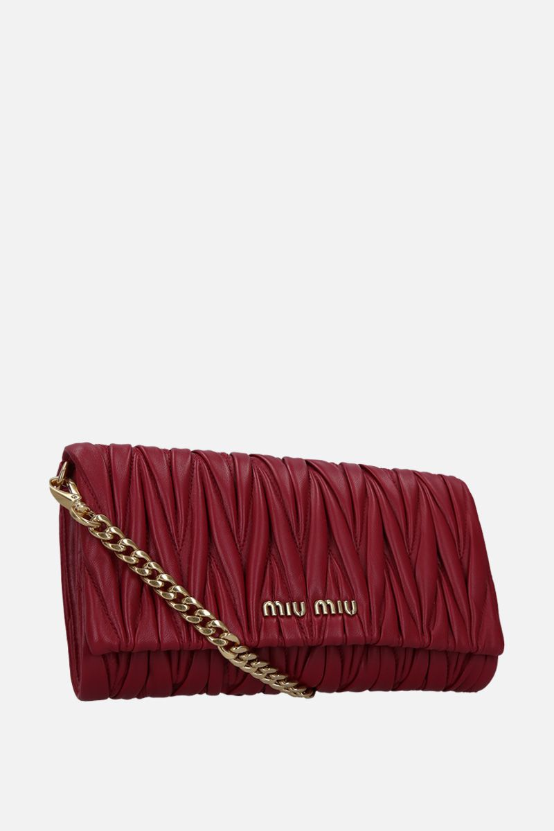 MIU MIU: mini crossbody bag in quilted nappa Color Red_3