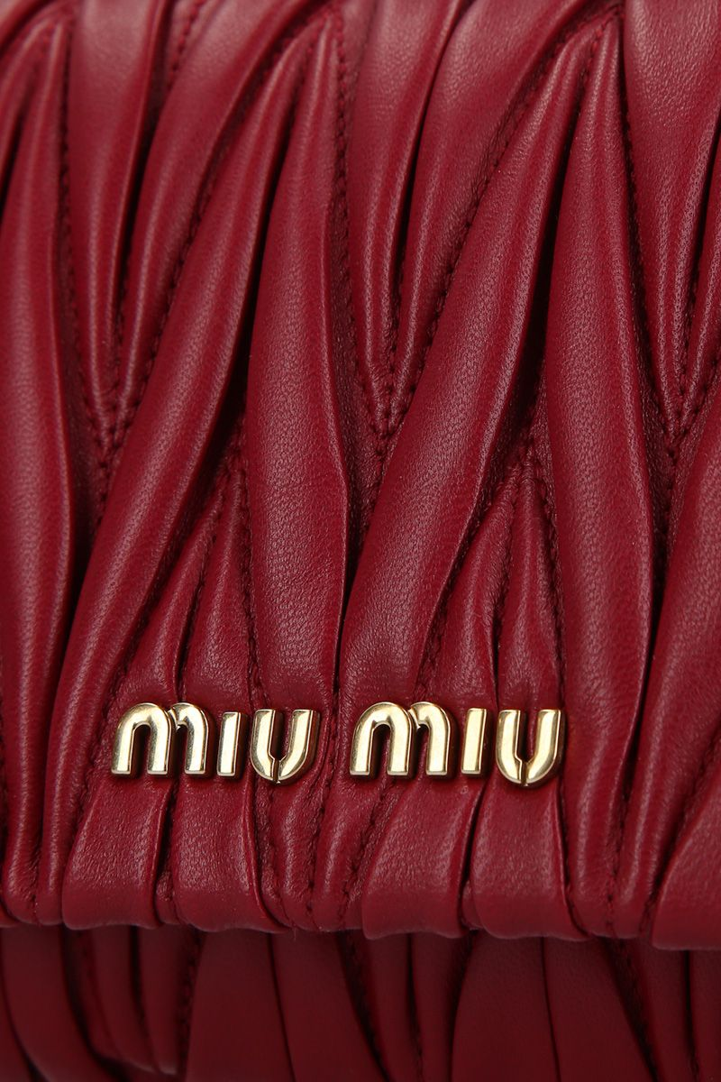 MIU MIU: mini crossbody bag in quilted nappa Color Red_5