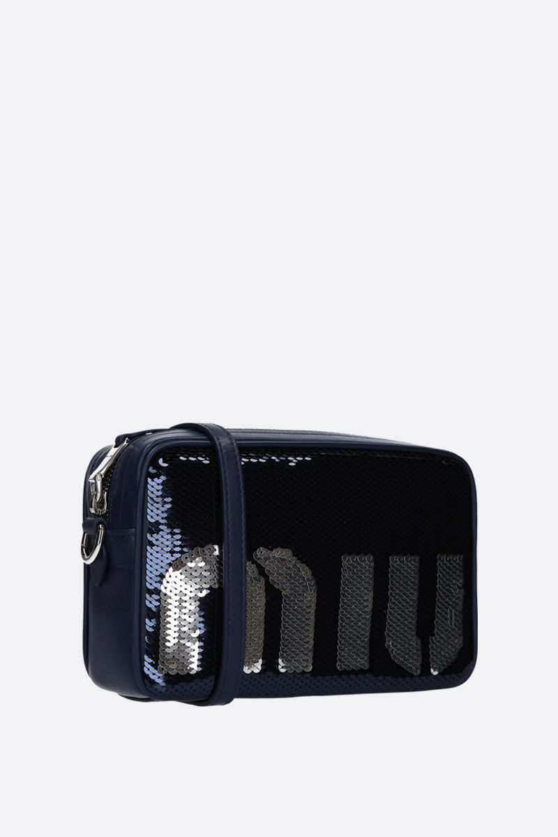 MIU MIU: sequinned crossbody bag Color Blue_2