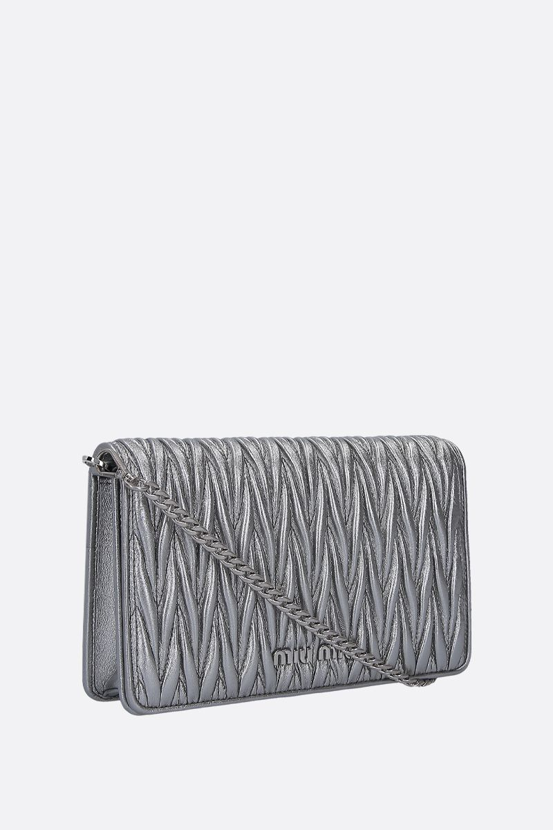 MIU MIU: Miu Dèlice chain bag in quilted nappa Color Grey_2