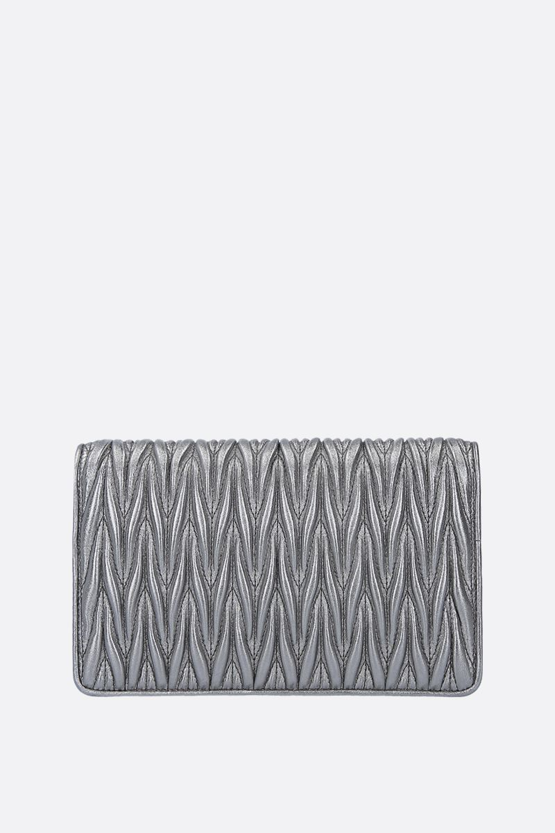 MIU MIU: Miu Dèlice chain bag in quilted nappa Color Grey_3