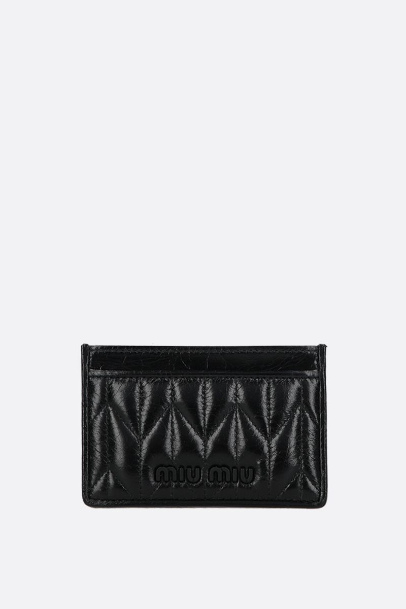 MIU MIU: quilted Shine leather card case Color Black_1
