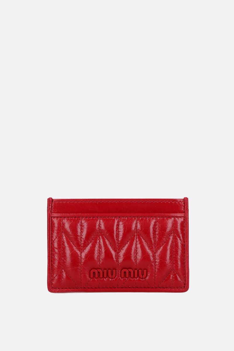 MIU MIU: quilted Shine leather card case Color Red_1