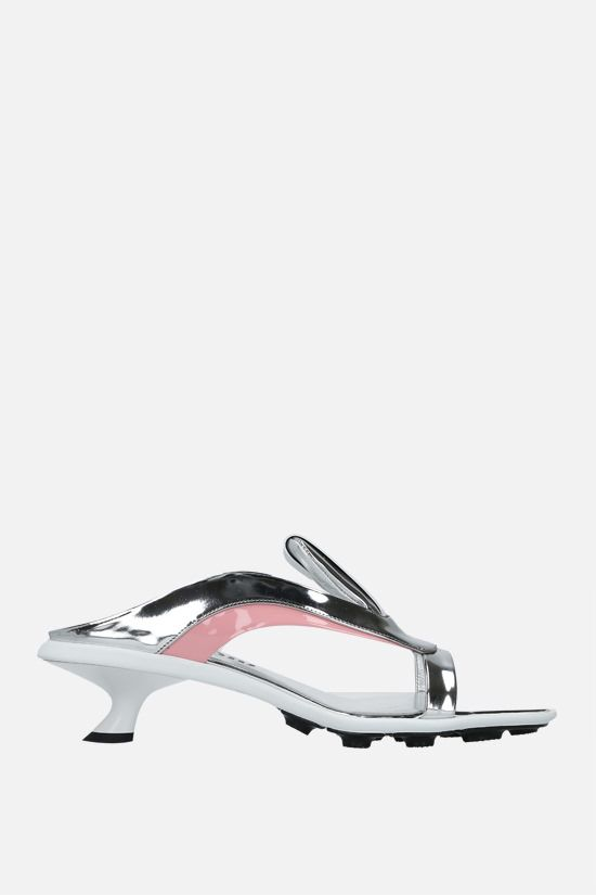 MIU MIU: Metal Tech fabric and patent leather sandals Color Silver_1