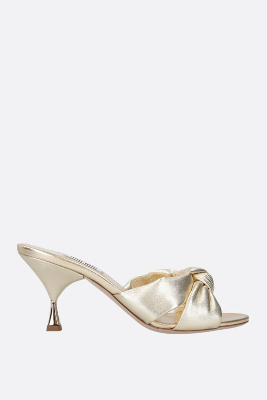 MIU MIU: Mordorè nappa mule sandals Color Gold_1