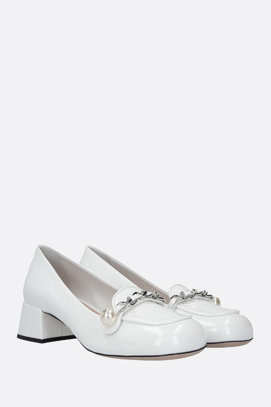 MIU MIU: chain-detailed naplak loafers Color White_2