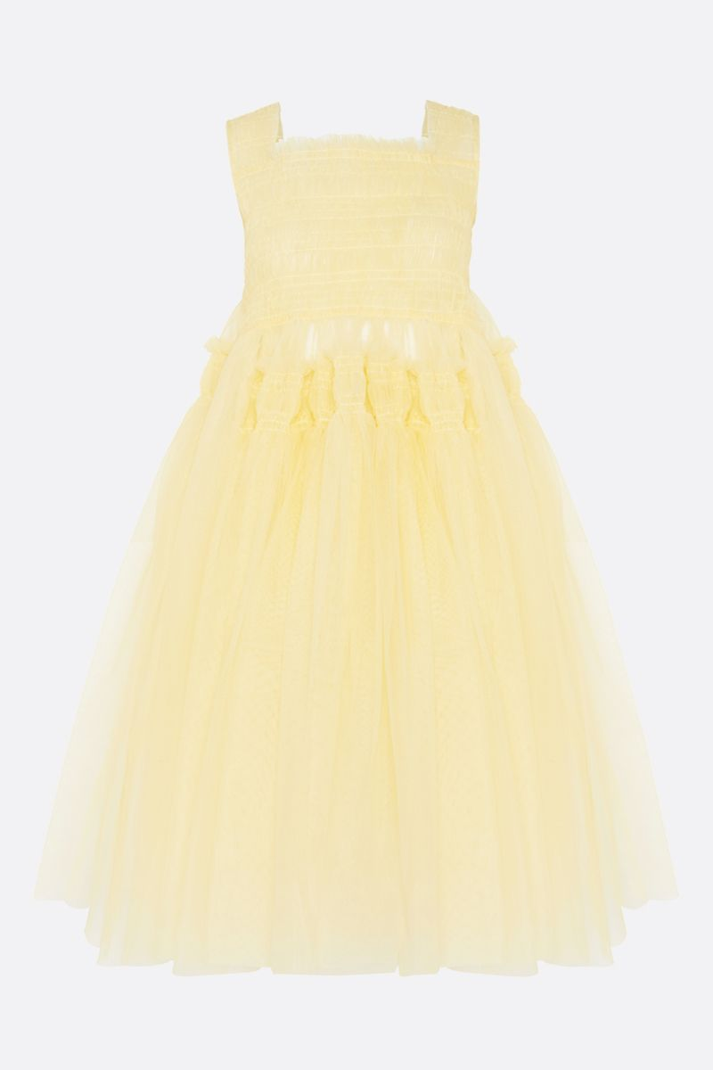 MOLLY GODDARD: Jamila tulle midi dress Color Yellow_1