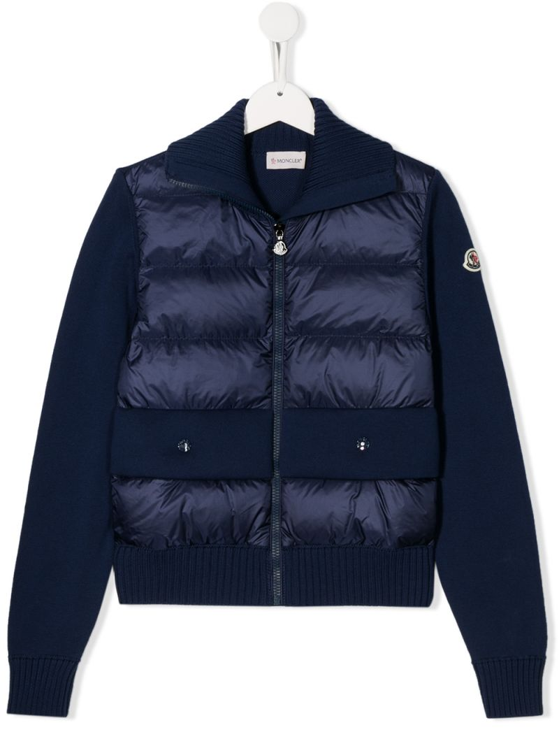 MONCLER KIDS: cotton cardigan with padded nylon insert Color Blue_1