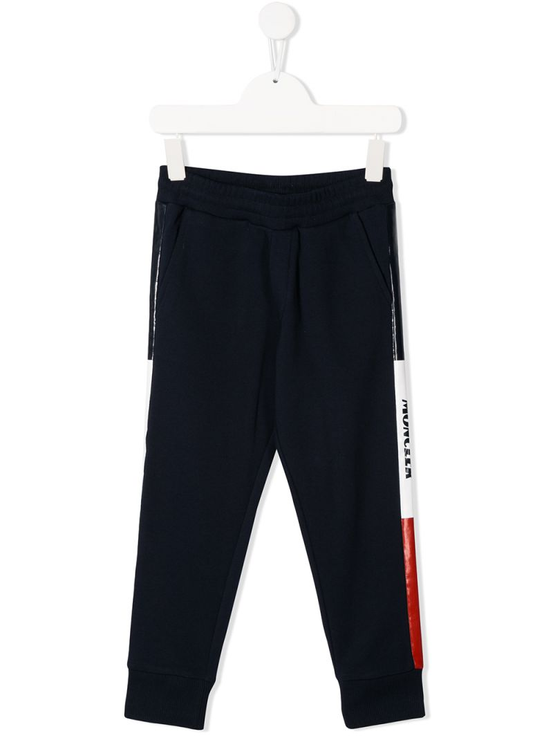 MONCLER KIDS: logoed bands cotton joggers Color Black_1