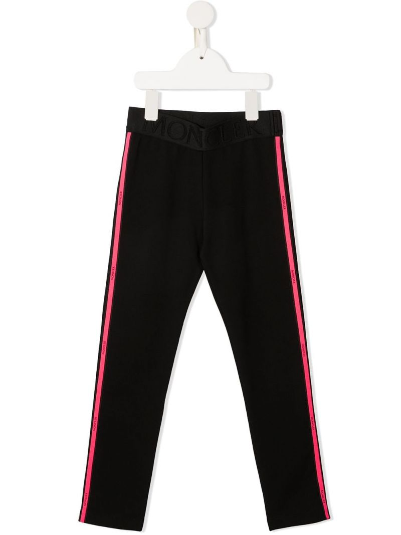 MONCLER KIDS: logo band-detailed stretch cotton leggings Color Black_1