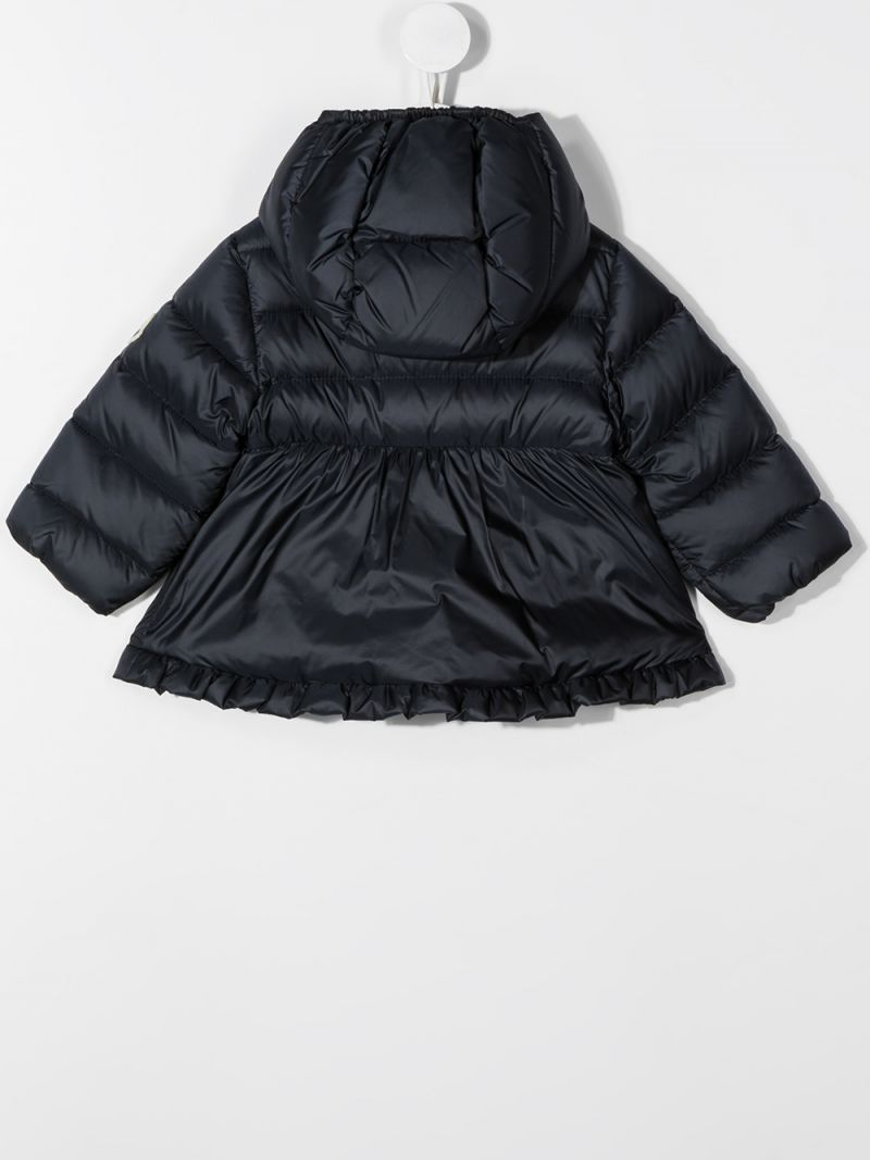 MONCLER KIDS: piumino in nylon con ruches Colore Blu_2