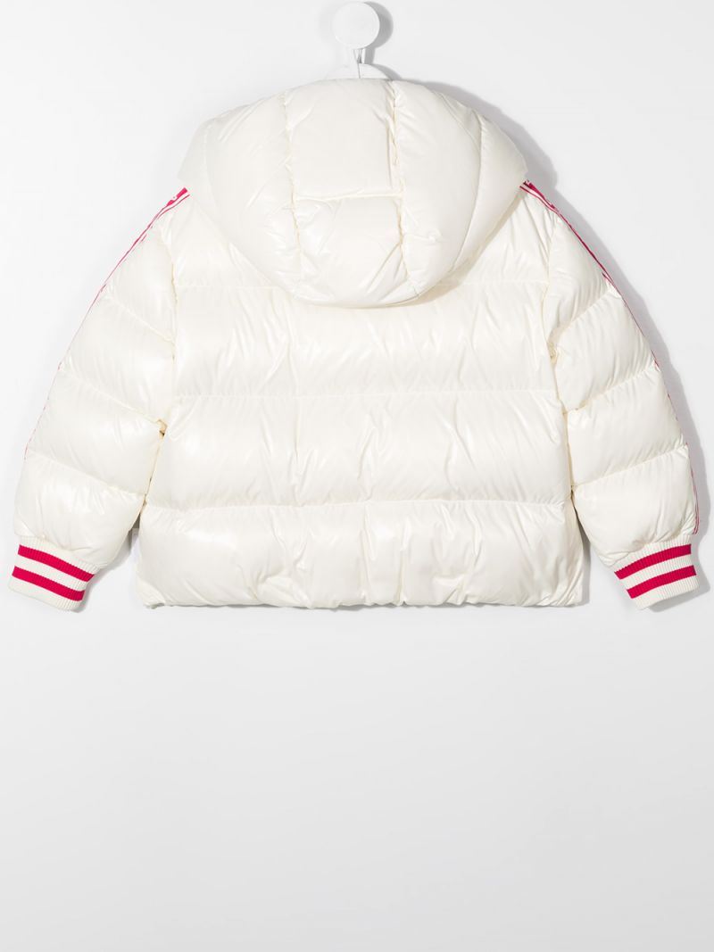 MONCLER KIDS: Azzurra laquè nylon down jacket Color White_2