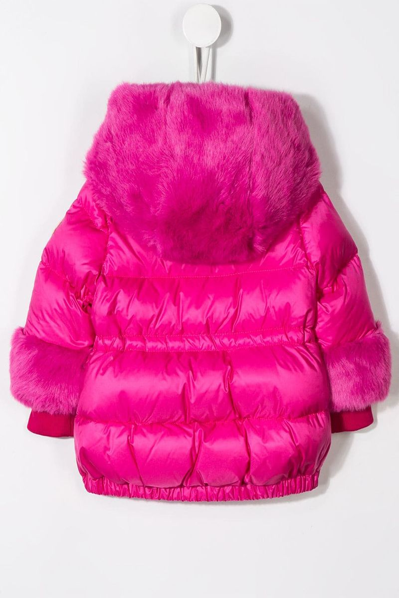 MONCLER KIDS: Atlantique nylon down jacket with faux fur inserts Color Pink_2