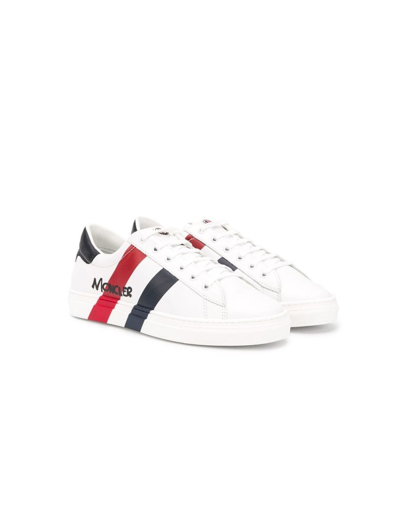 MONCLER KIDS: logo-detailed smooth leather sneakers Color White_1