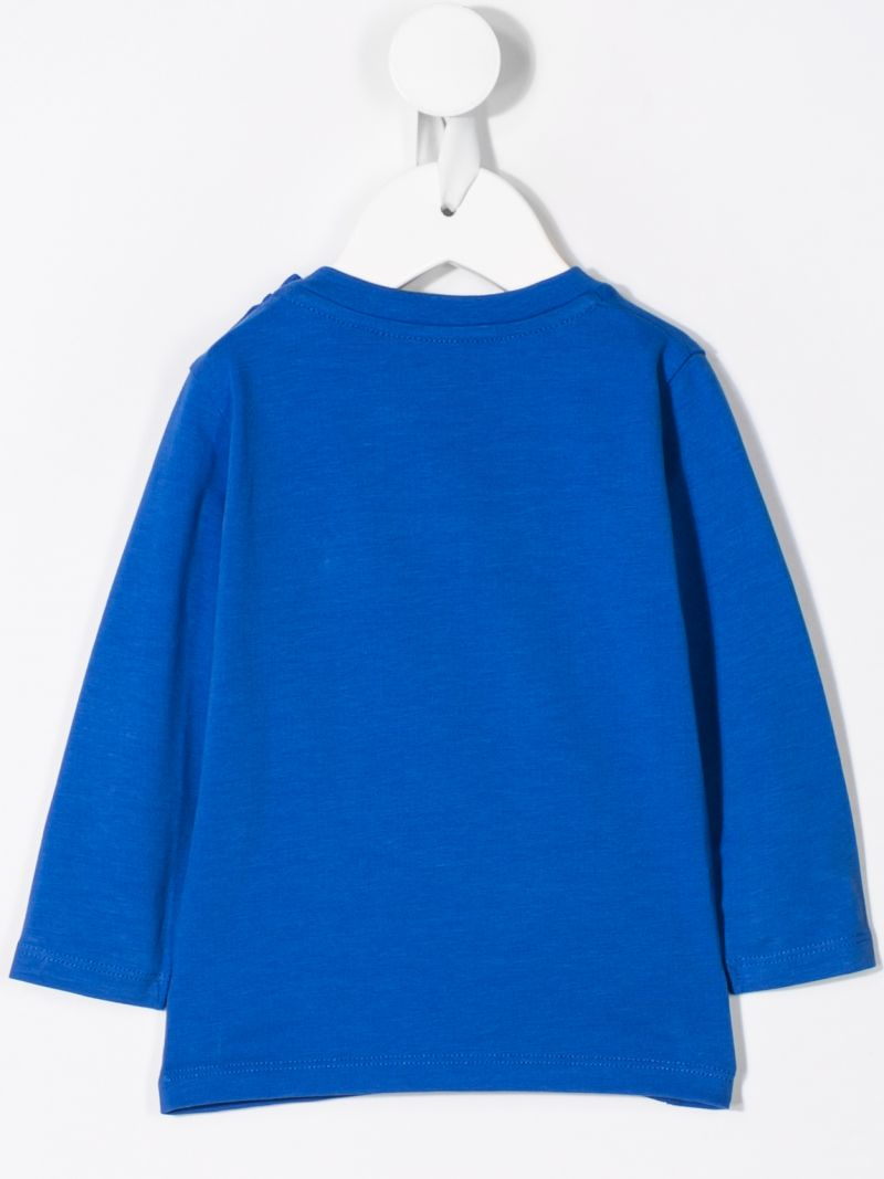 MONCLER KIDS: logo embroidery jersey long-sleeved t-shirt Color Blue_2