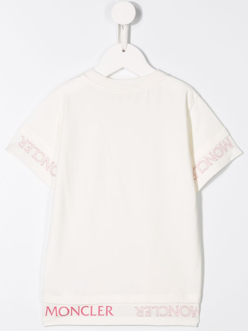 MONCLER KIDS: logo print jersey t-shirt Color White_2