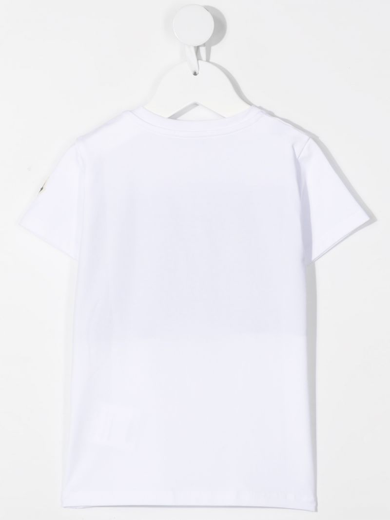 MONCLER KIDS: logo print cotton t-shirt Color White_2
