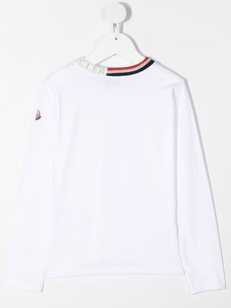 MONCLER KIDS: logo-detailed cotton long-sleeved t-shirt Color White_2