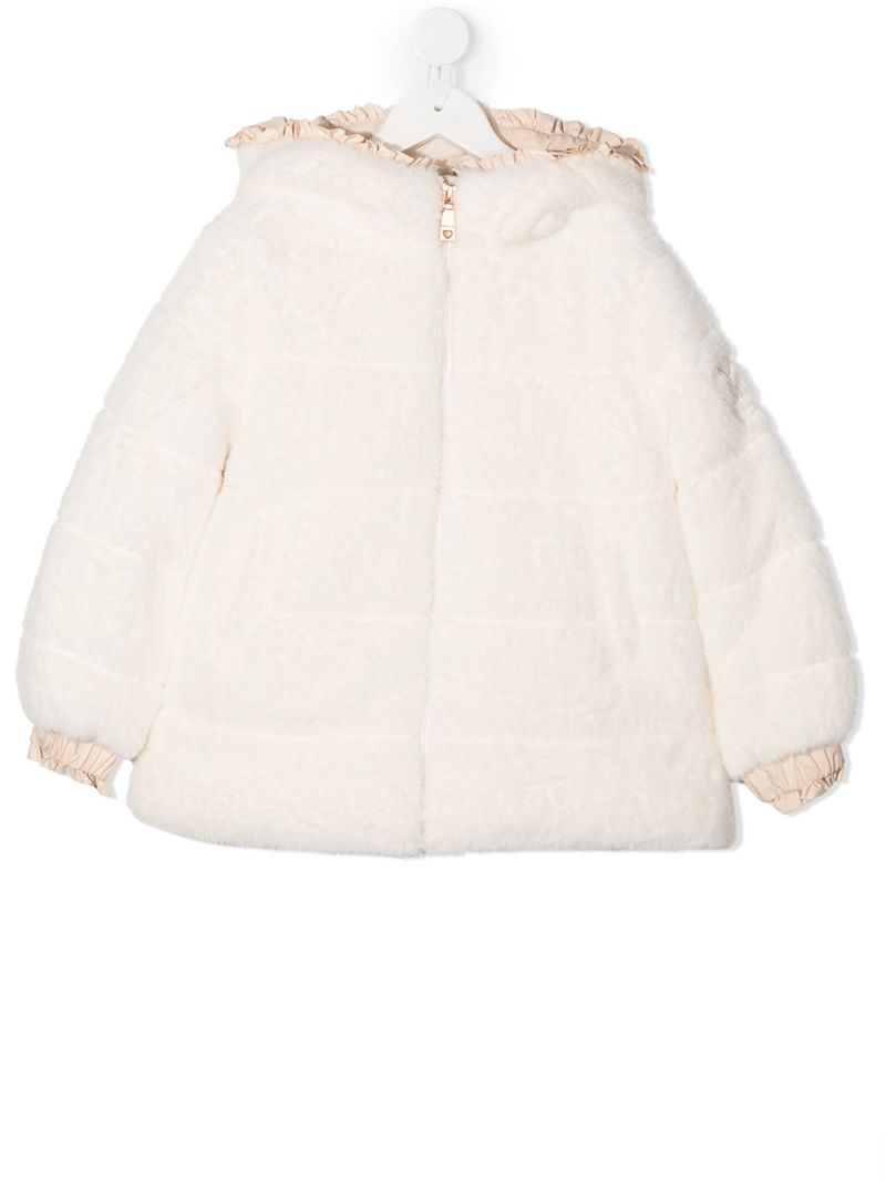 MONNALISA: faux fur full-zip jacket Color White_1