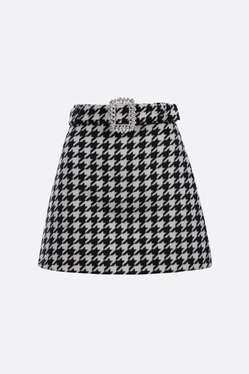 GIUSEPPE DI MORABITO: houndstooth wool blend A-line miniskirt Color Black_1