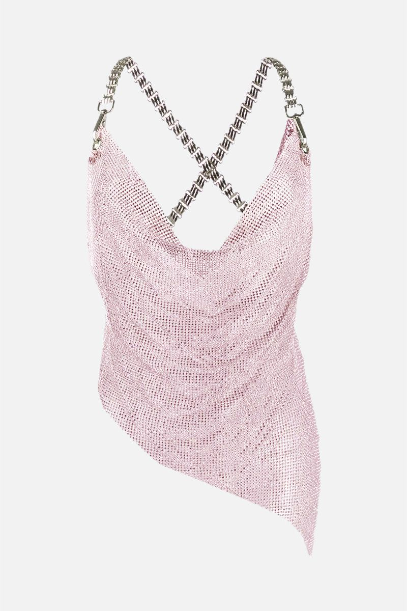 GIUSEPPE DI MORABITO: crystals embellished metal mesh asymmetric top Color Pink_1