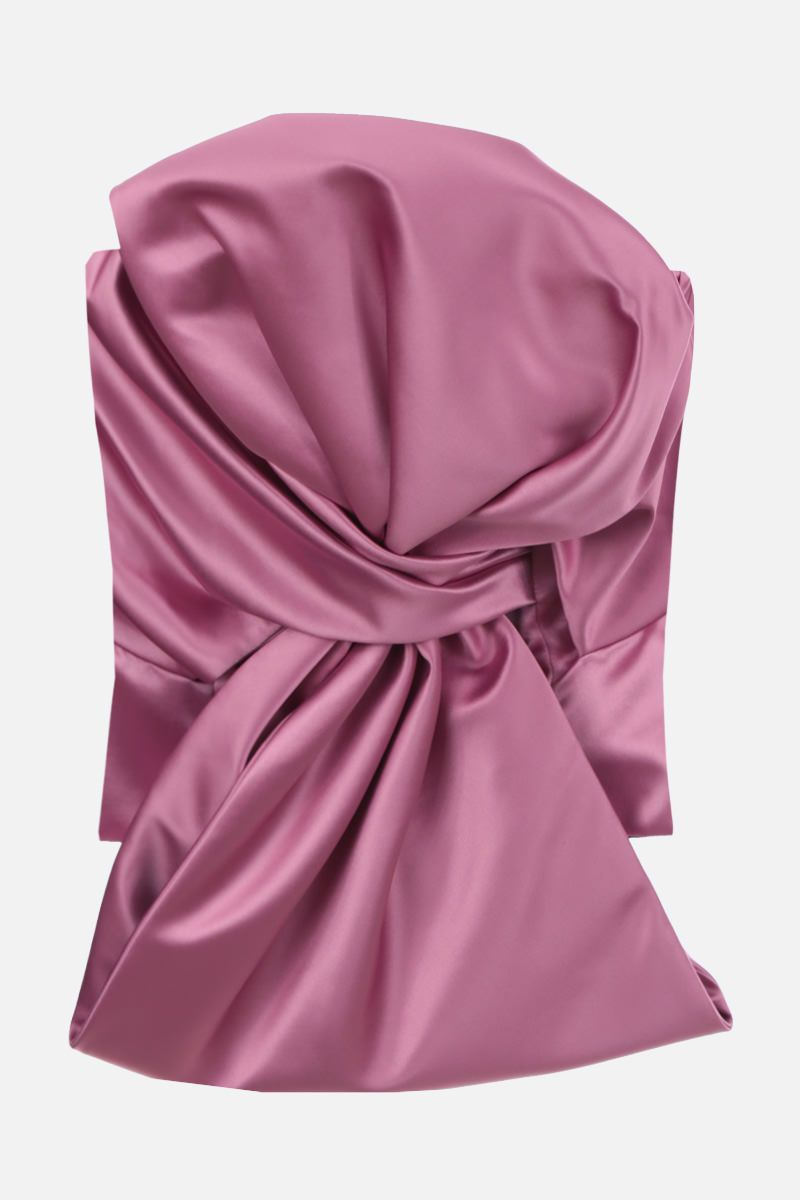 GIUSEPPE DI MORABITO: bow-detailed satin bustier top Color Pink_1