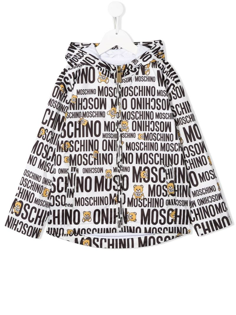 MOSCHINO KIDS: Teddy Logo nylon windbreaker Color White_1