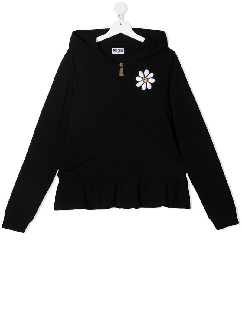 MOSCHINO KIDS: Daisy Teddy Bear stretch cotton full-zip hoodie Color Black_1