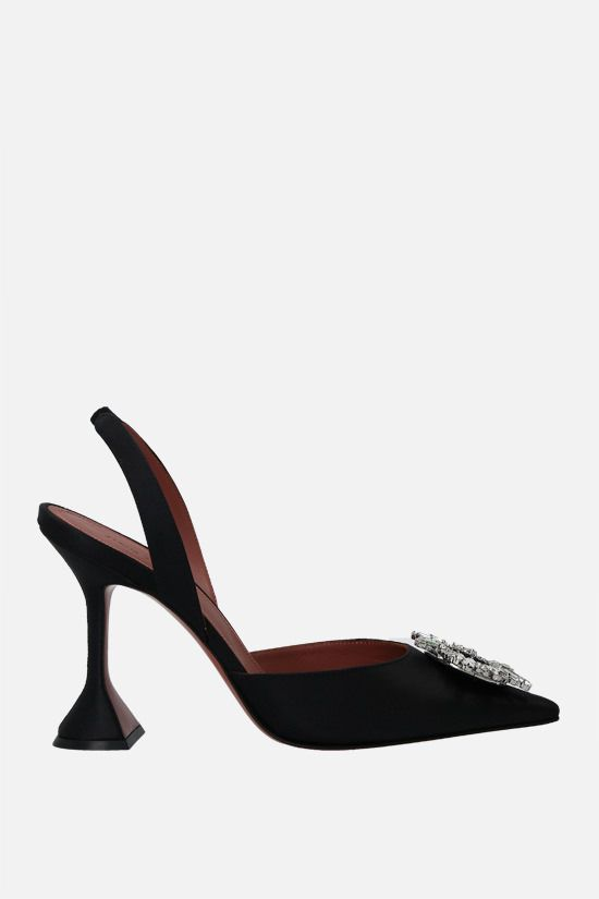 AMINA MUADDI: Begum satin slingbacks Color Black_1