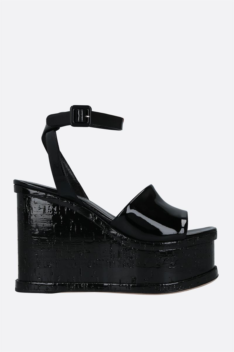 HAUS OF HONEY: Laquer Doll patent leather wedge sandals Color Black_1