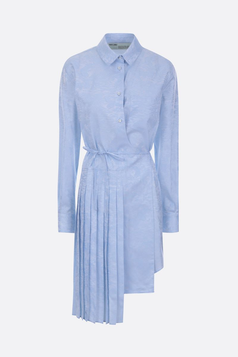 OFF WHITE: jacquard cotton shirt dress Color Blue_1