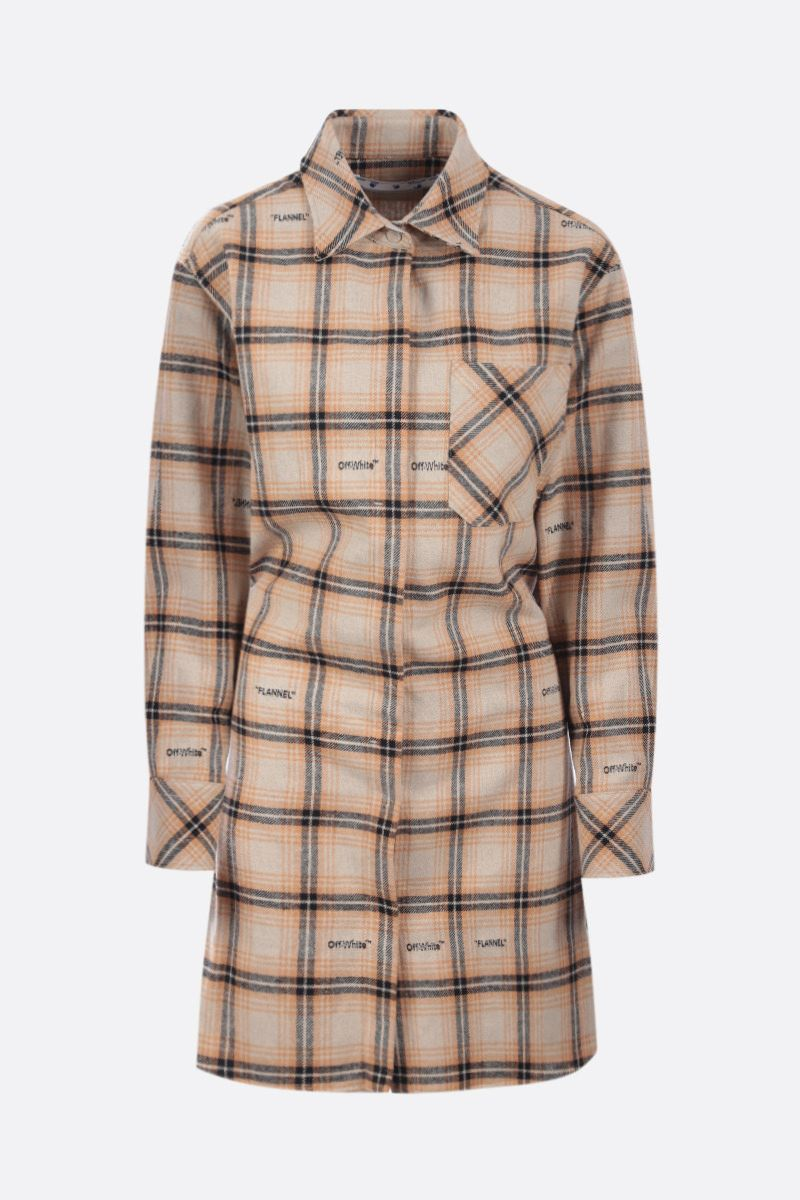 OFF WHITE: check flannel shirt dress Color Neutral_1
