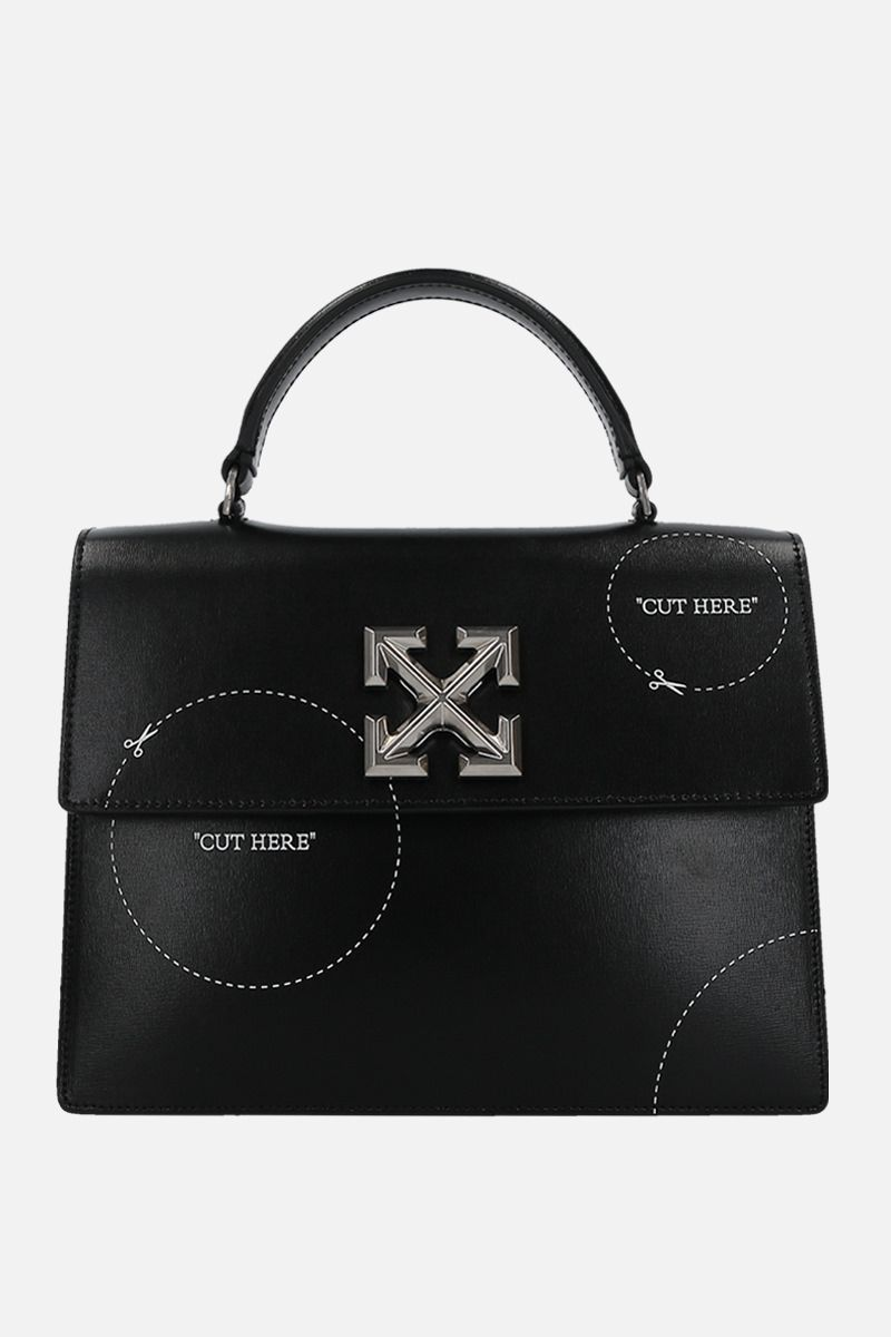 OFF WHITE: Jitney 2.8 shiny leather top handle bag Color Black_1