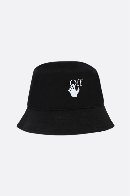 OFF WHITE: Hand Off cotton bucket hat Color Black_2