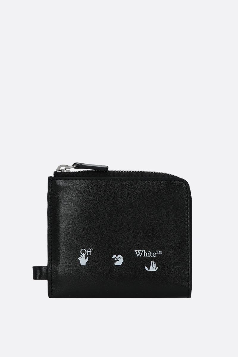 OFF WHITE: smooth leather chain wallet Color Black_1