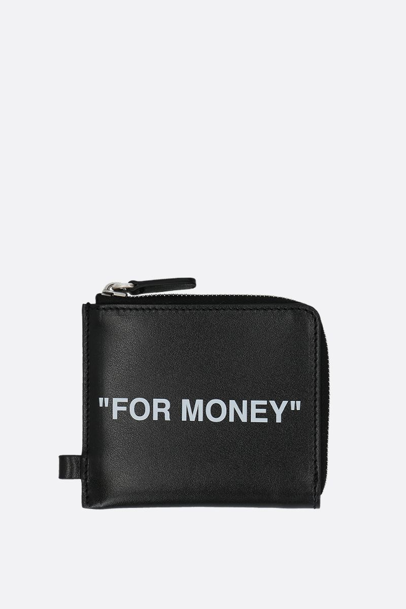 OFF WHITE: Quote zip chain wallet in smooth leather Color Black_1