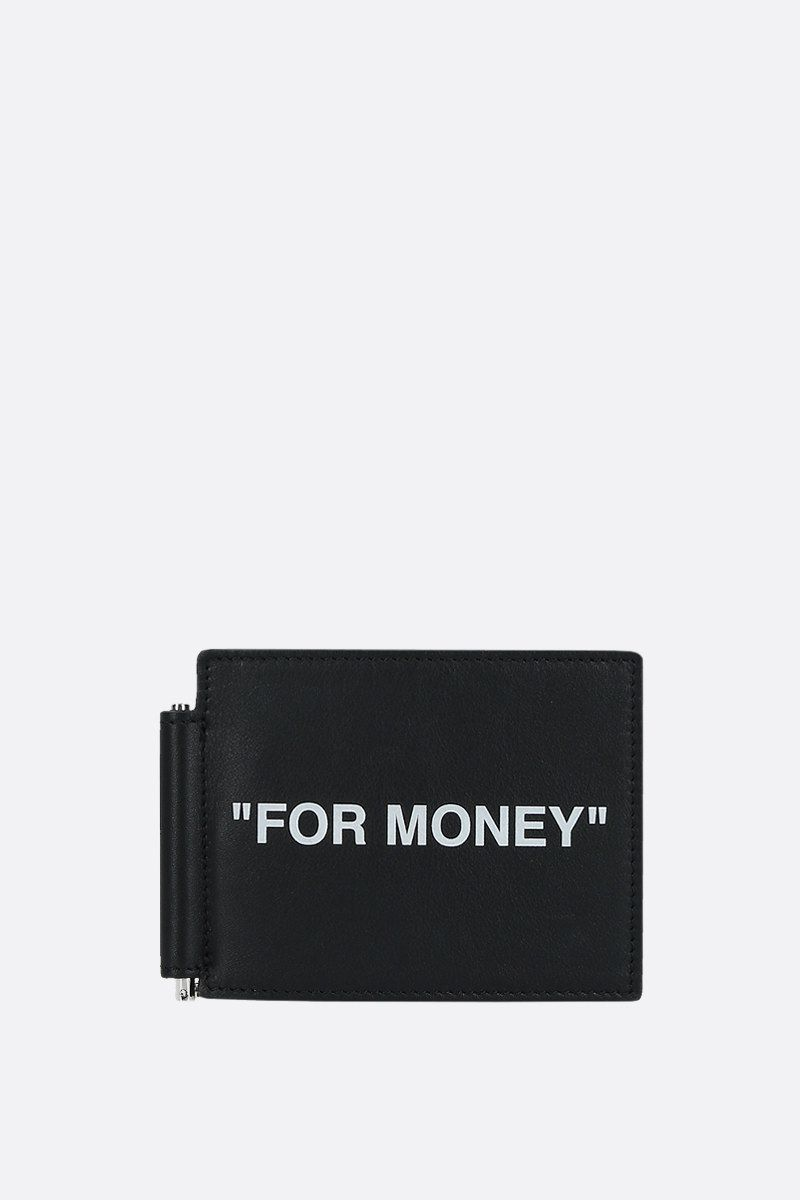 OFF WHITE: Quote smooth leather money-clip wallet Color Black_1
