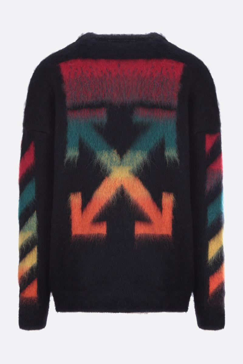 OFF WHITE: Diagonals intarsia mohair blend pullover Color Black_2